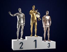 Footballers At The Pedestal PBR Rigged 3D asset realtime