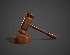Wood Judge Hammer 3D asset
