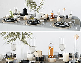 Breakfast table setting 3D