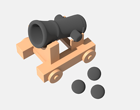 3D model game-ready Medieval cannon