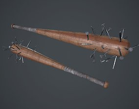 Baseball Bat Weapon With Metal Nails PBR Game 3D asset