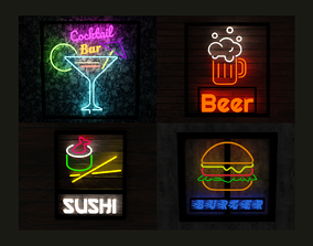 Neon food signs pack 3D