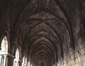 pillar Gothic hallway modular kit 3D asset