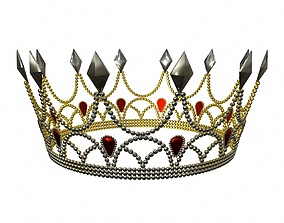 3D Gold crown with crystals