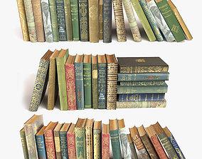 old books on a shelf set 5 3D model