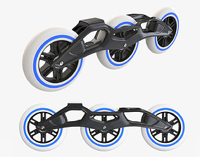 Racing roller skates frame and wheels 3D