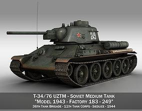 T-34-76 UZTM- Model 1943 - Soviet tank - 249 3D