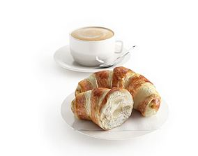 Breakfast Croissant And Coffe 3D model