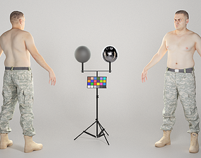 3D model Shirtless military man in A-pose 327