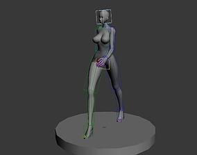3D asset Sexy woman walking anime