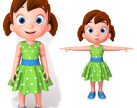 3D model Cartoon Little Girl Rigged