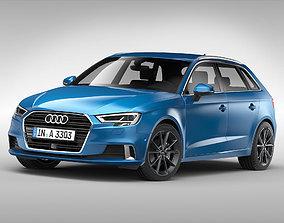 3D model Audi A3 Sportback 2017