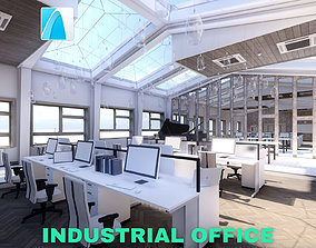 Industrial Office on Attic with Skylights Scene 3D asset 1