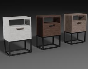 A set of modern bedside tables 3D model