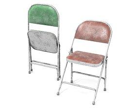 3D asset Folding Metal Chairs