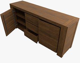 Teak wooden dressoir 3D model