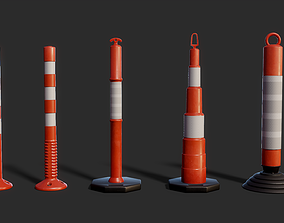 Warning Post 3D model Pack game-ready