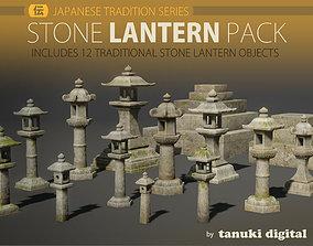3D asset VR / AR ready Stone Lantern Pack