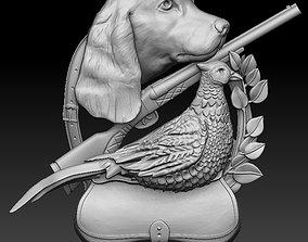 hunting 3D print CNC model dog pheasant