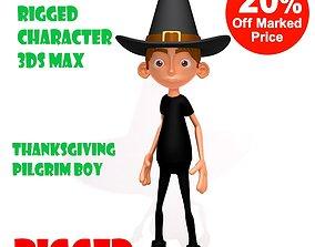 3D Thanksgiving Pilgrim boy cartoon rigged
