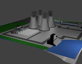 Nuclear Power Station Nuclear power plant 3D asset 2
