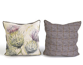 Voyage Cushion Flowers -Piped Pillow 3D model