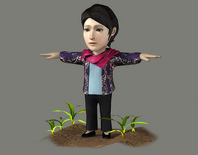 Farmers women villagers the countryside 3D model