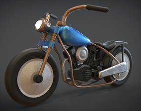 Simple Chopper Motorcycle 3D Model realtime