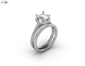3D printable model Engagement Ring With Diamonds engagment