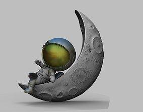 CUTE CHIBI SPACEMAN ON HALF MOON 3D PRINT MODEL