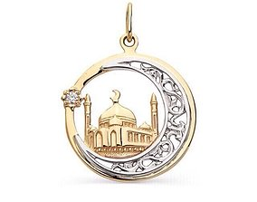 pendant mosque Muslim crescent with star 3D print model