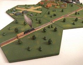 3D printable model Hex railroad straight