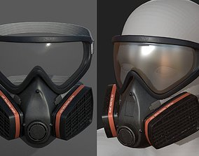 Gas mask helmet 3d model protection safety low-poly