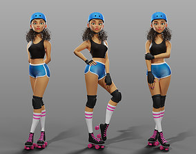 3D Cartoon female character roller-skater Jenny
