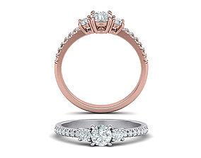 Three Stone Shine ring printable 3dmodel
