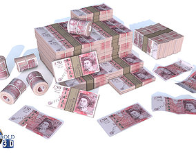 game-ready Money Pound Currency Pack 3d model