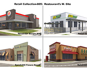 Retail Collection-005 Restaurants With Site 3D model