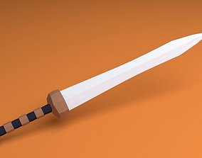 3D asset low-poly Roman Gladius Sword