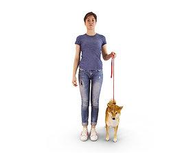 3D model Girl Training Dog