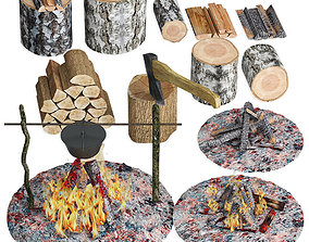 3D Set firewood bonfire hatchet