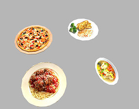 4 low poly meals pack 2 3D model