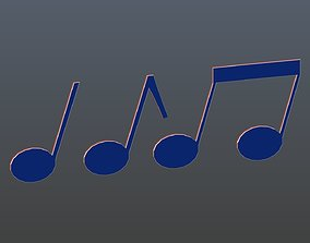 3D asset Low poly musical notes