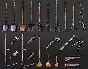 3D asset Shovels Rakes Brooms Axes Hammers Knives Saws - 2