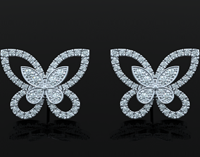 Stylish Butterfly Earrings with Diamonds 3D print model