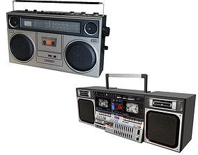 Retro Boom Box Ghetto Blaster Pack 3D
