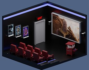 3D asset Low-Poly Movie Theater