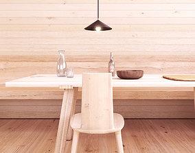 3D Wood Lodge Interior scene