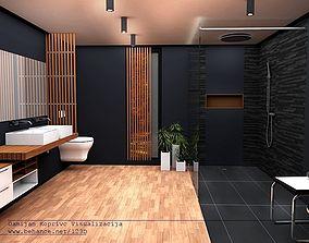 bathroom modern black line model 3d design VR / AR ready