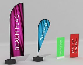 Beach Flag Roll up Banner Set 3D model architectural