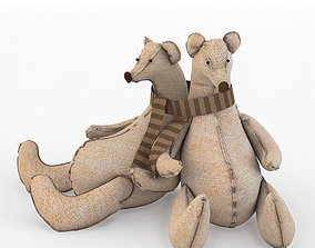 Toy bears textile bears family 3D model